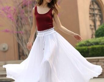white skirt, maxi skirt, chiffon skirt long, floor length skirt, plus size skirt, elastic waist skirt, womens long skirts 944