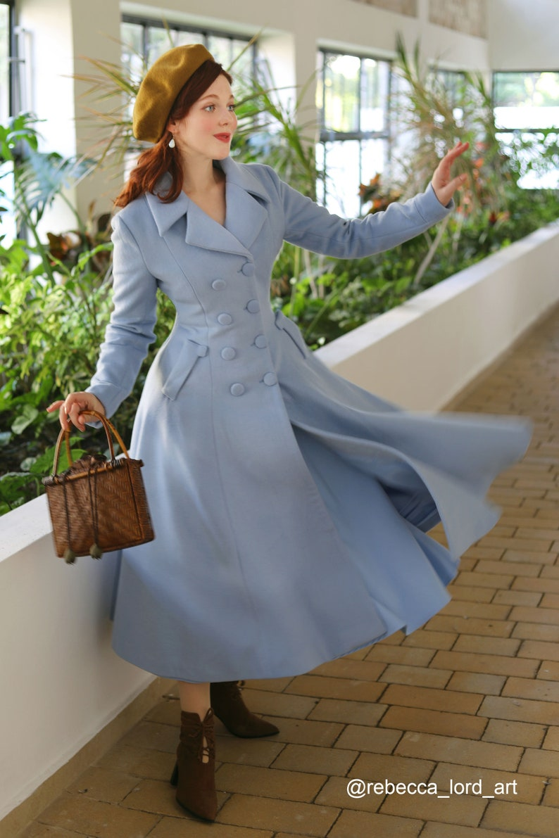 1940s Style Coats and Jackets for Sale Vintage inspired Long wool coat Winter coat women Wool coat women fit and flare coat Double breasted wool coat Xiaolizi 1685# $179.00 AT vintagedancer.com