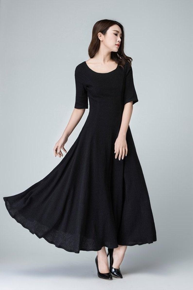 3fd935c1b1e9ca Schwarz Leinen Leinen-Kleid eine Linie Kleid Maxi-Kleid | Etsy