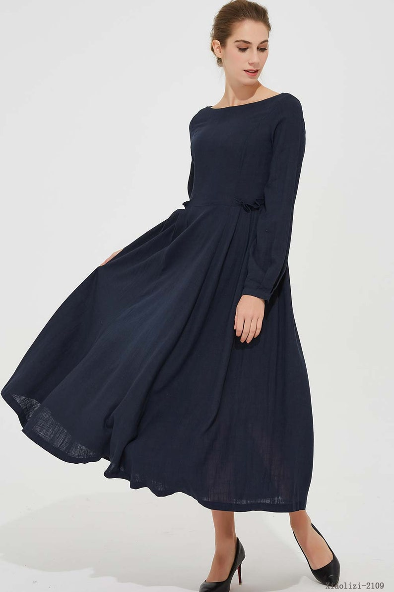 b59ac42eedd6 Navy blue dress midi linen dress party dress womens