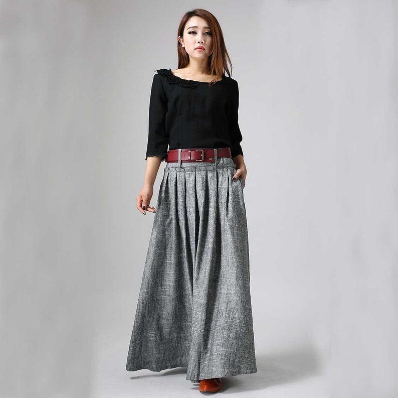 8e8c6f7a41ec Maxi skirt women skirt linen skirt pleated maxi skirt long | Etsy