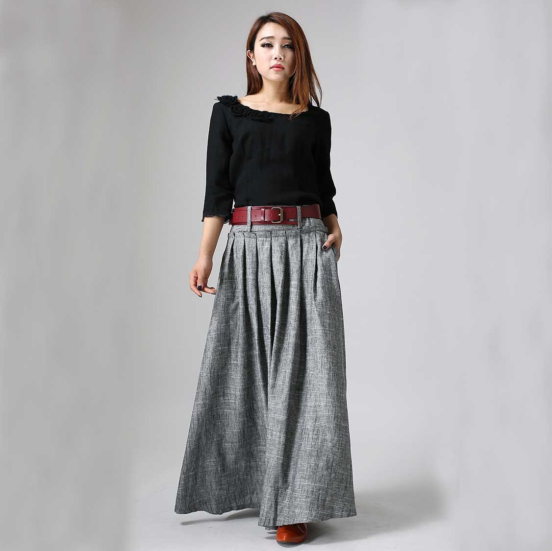 8fcef10b19 Maxi skirt women skirt linen skirt pleated maxi skirt long | Etsy