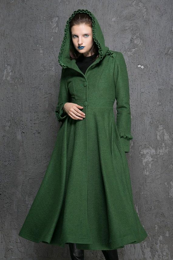 Green Coat Womens Coats Winter Wool Fit And