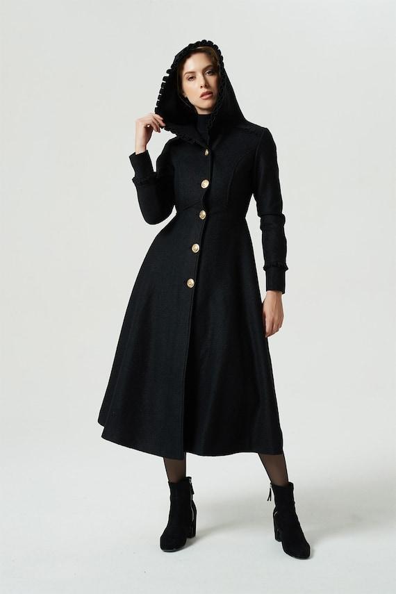 size 40 0e129 36560 Schwarzer Mantel, Kapuzen-Mantel, Wintermantel, warmen Mantel, Maxi  Wollmantel, langen Mantel, Einbau Mantel, Frauen Mantel, Wollmantel, ...