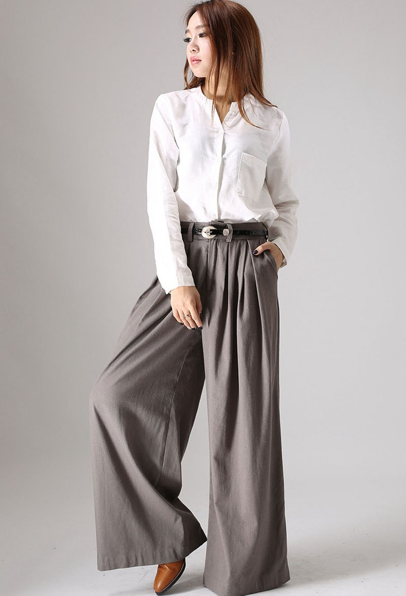 6b12f3378836f Gray palazzo pants wide leg pants womens long pants linen