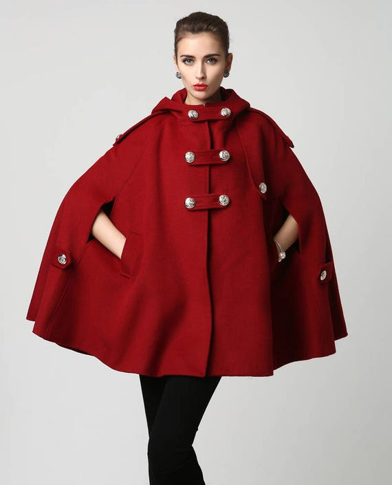 14d704c7f32 Wool cape winter cape red wool cape womens hooded cape