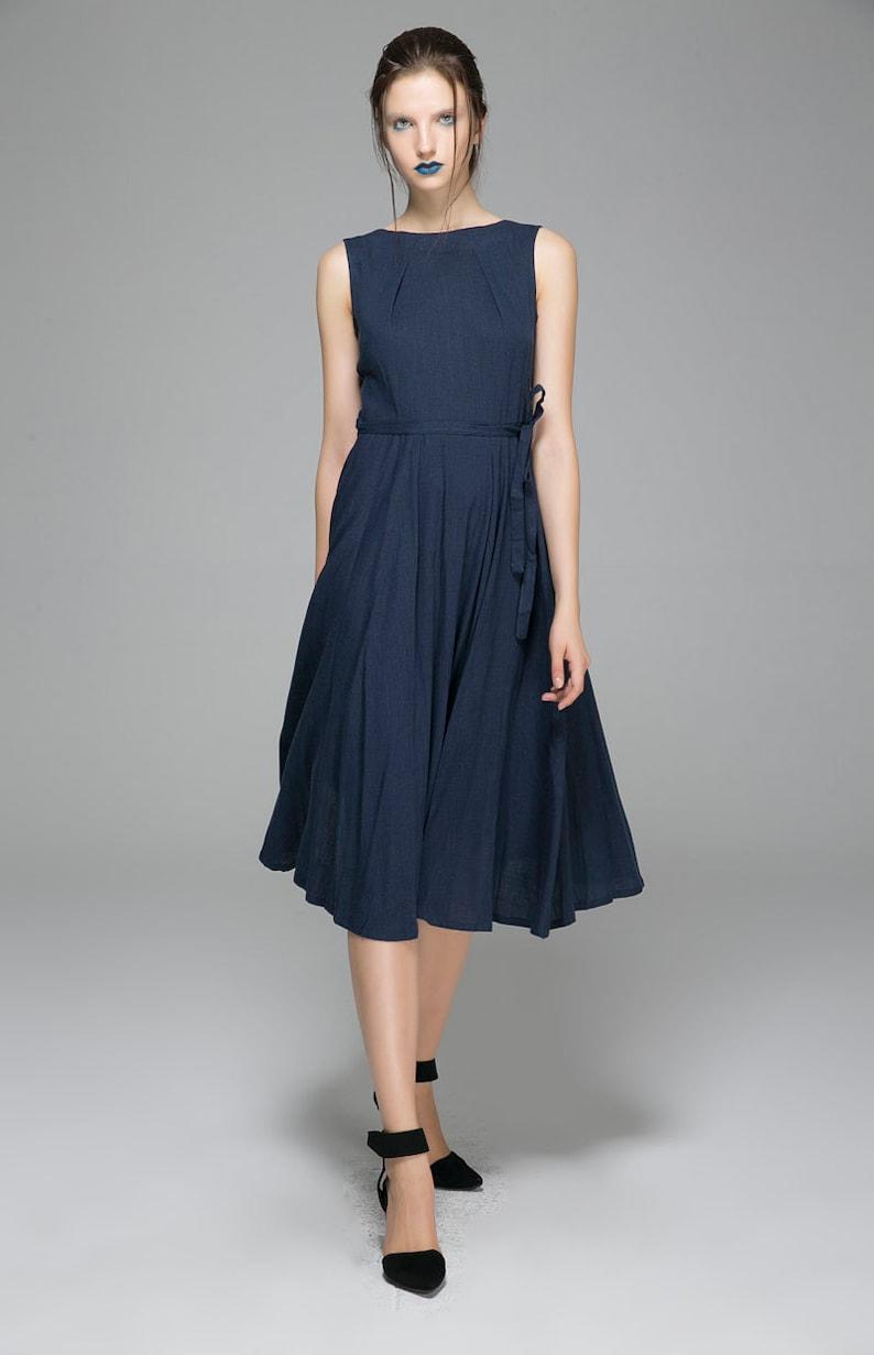 fe1ecf3b6e7 Linen dresses Navy Blue dress womens dresses maxi dress