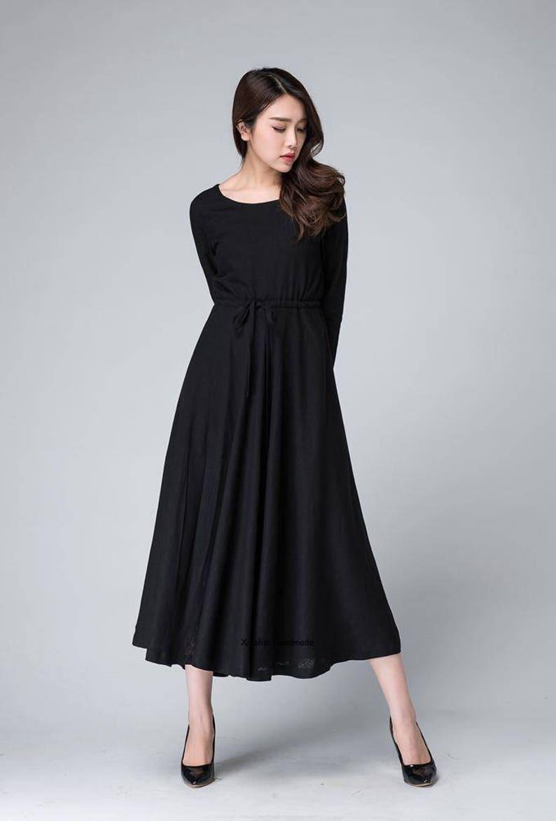 f8784acd92e Black maxi dress linen dress womens dresses spring dress