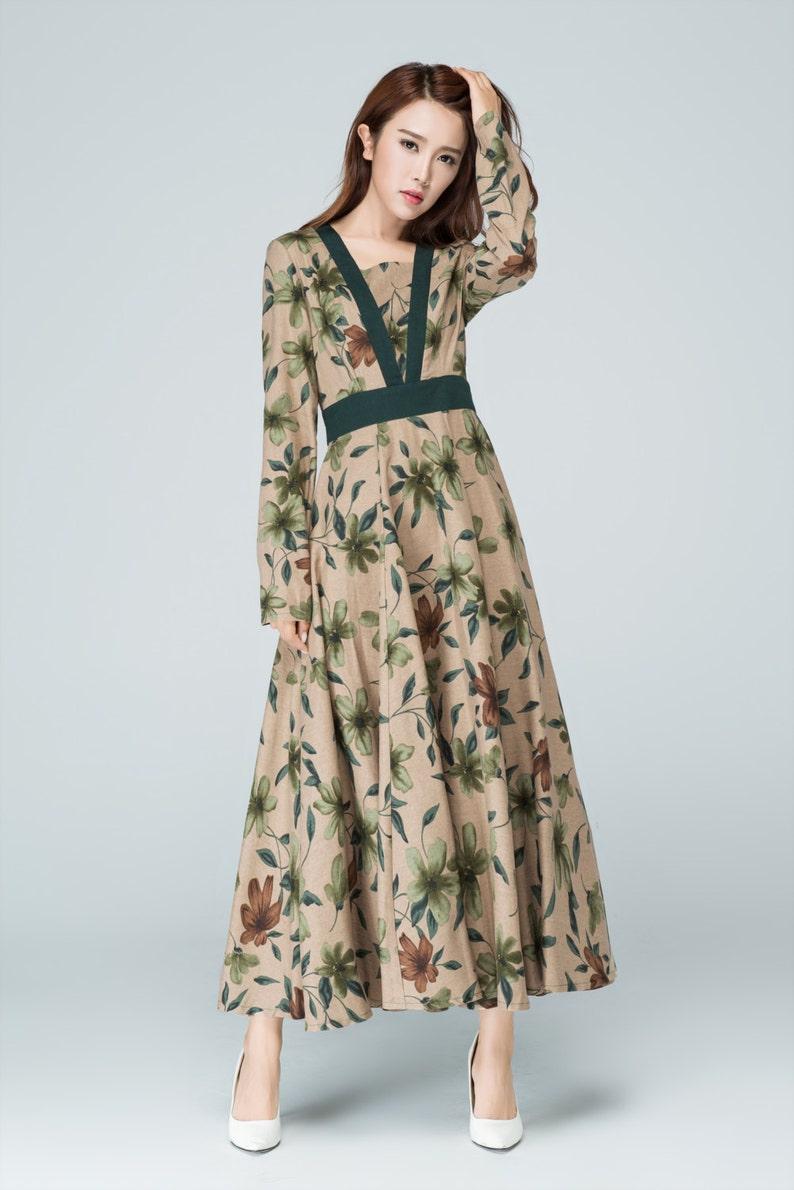 7e3cda62b5bb Retro dress Long dress linen dress fall dresses for women