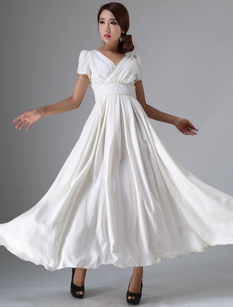 Boho Wedding Dress White Long Dress Prom Dress Women Linen ...