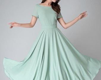 Mint chiffon dress, maxi dress women, bridesmaid dress, summer dress, fit and flare dress, formal dress, womens dress, evening dress  1521