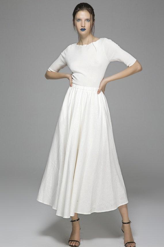 white skirt linen skirt maxi skirt long linen skirt swing  ef6e2b893111