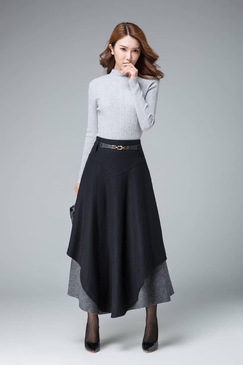 08127575b1 Black maxi skirt wool skirt tiered skirt winter skirt | Etsy