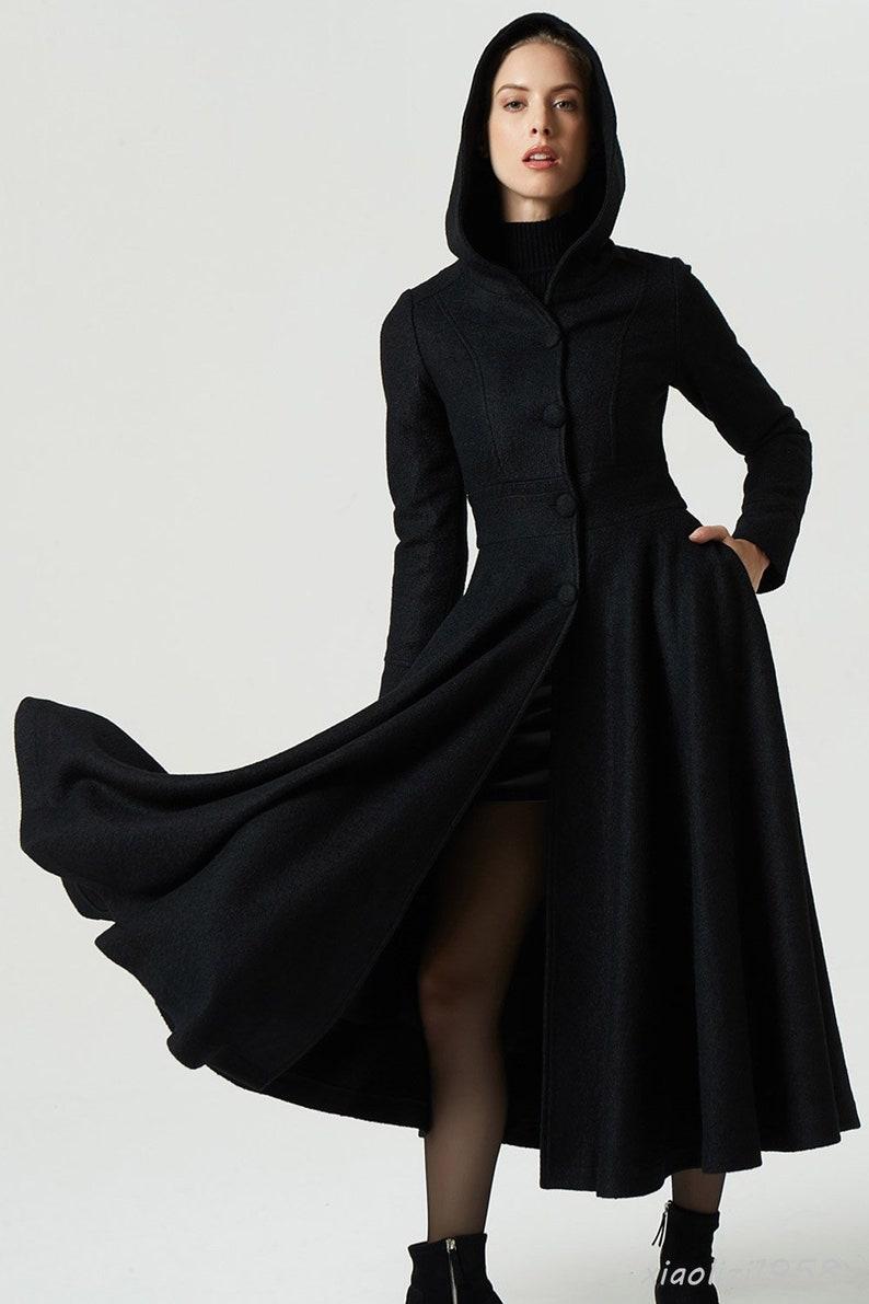 0a478f910e8ebd Lange wollen jas maxi vacht zwarte jas jurk vacht capuchon