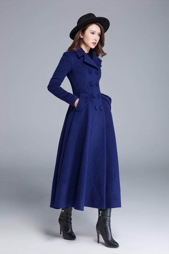 long wool coat blue coat wool coat winter coat pleated etsy. Black Bedroom Furniture Sets. Home Design Ideas