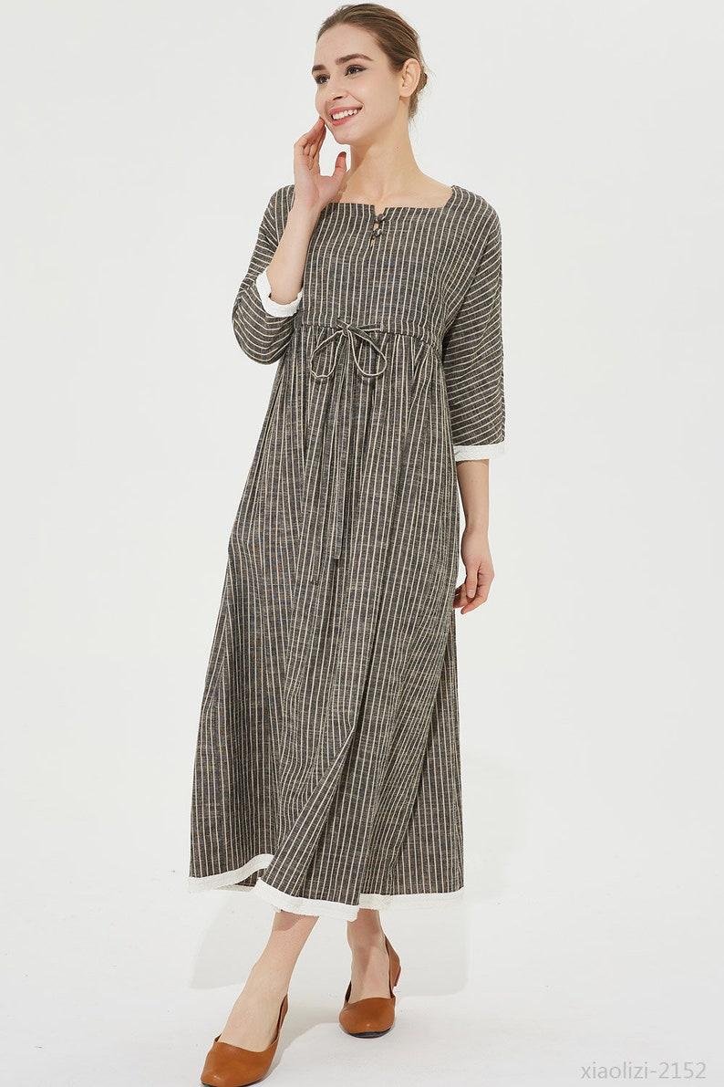 f373172fc31 Striped linen dress drawstring waist dress long linen dress