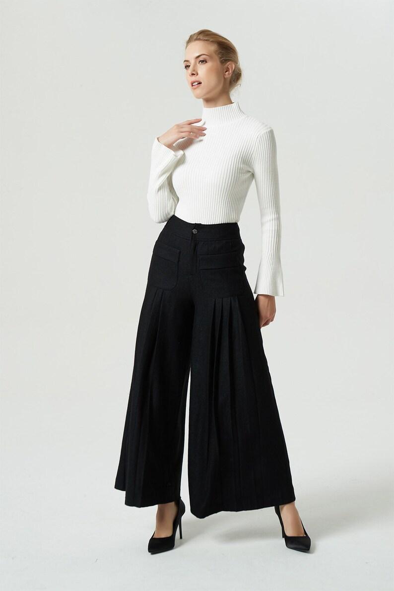 2e7b75cb2155b Black pants wool pants wide leg pants maxi pants winter