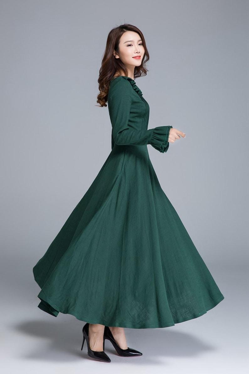 74137c174e Green linen dress long sleeve dress maxi dress spring | Etsy