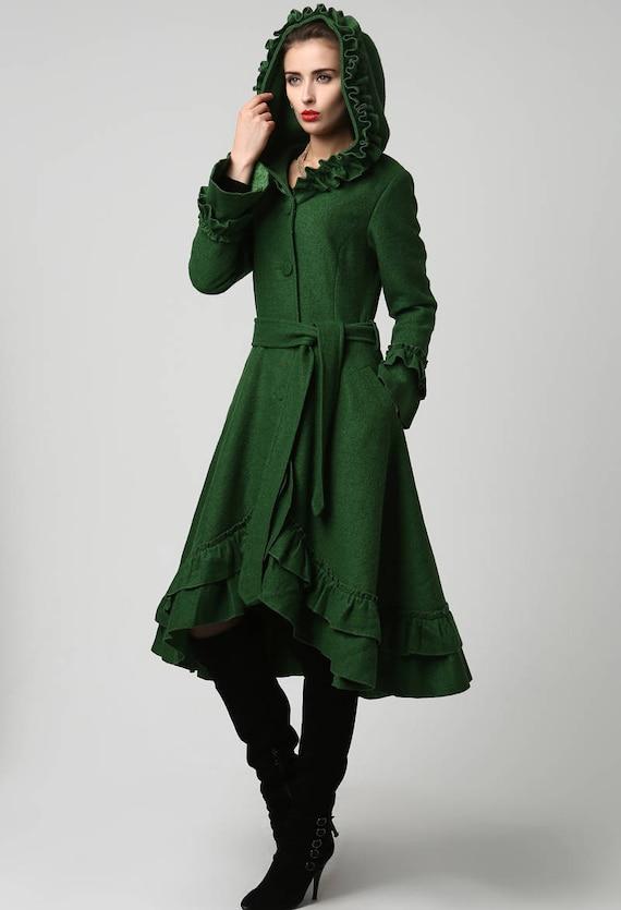 green coat green hoodie coat wool coat winter coat womens. Black Bedroom Furniture Sets. Home Design Ideas