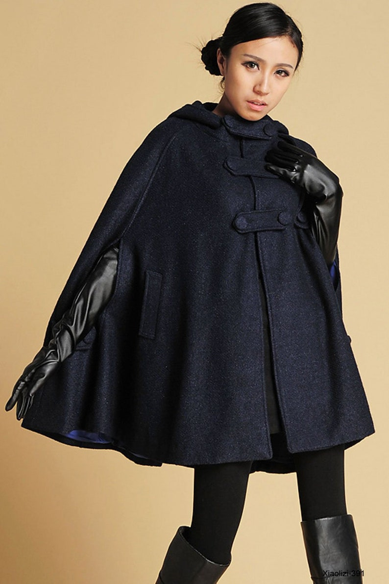 cape coat wool cape hooded cape Wool Coat Cloak in blue Blue