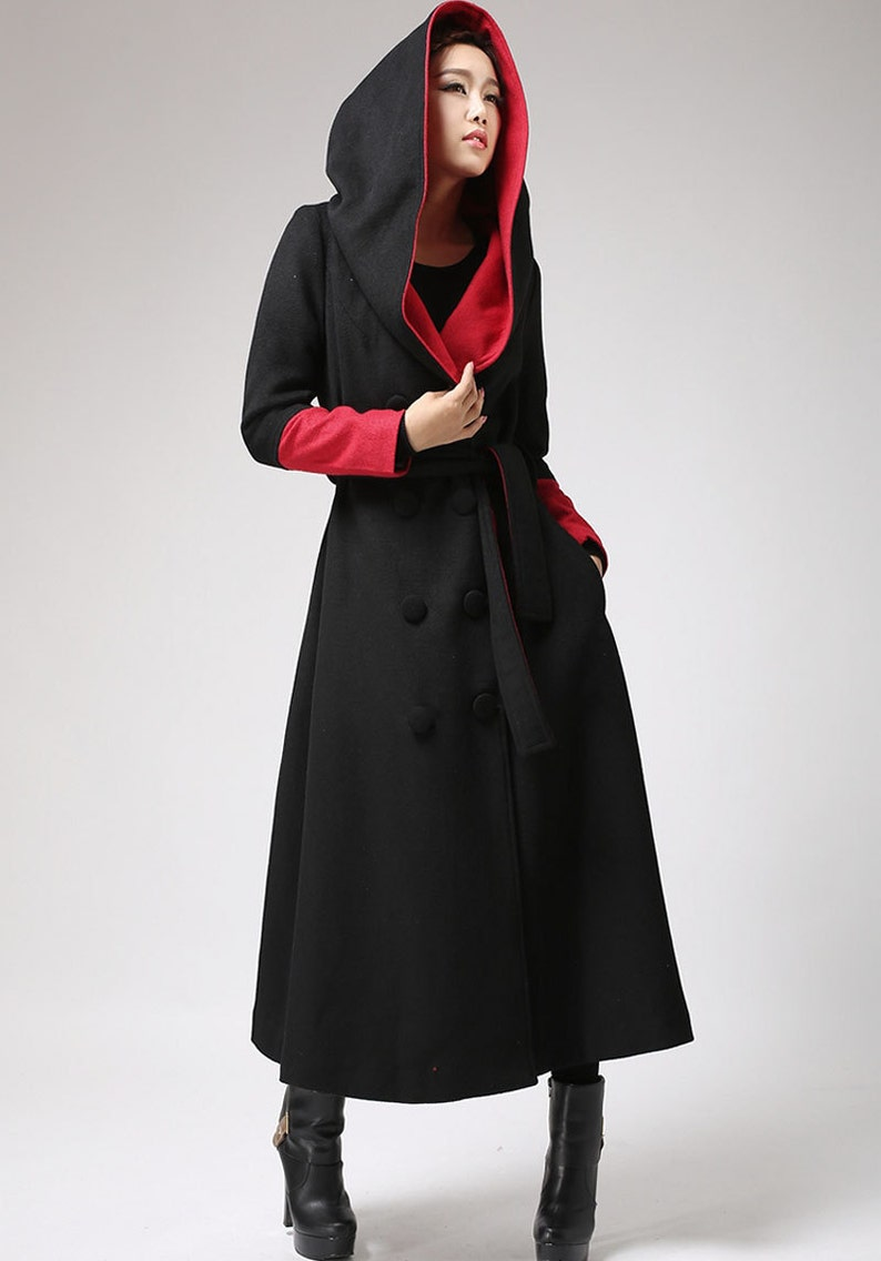 91b14114462 Oversized coat Long wool coat Black and Red trench coat