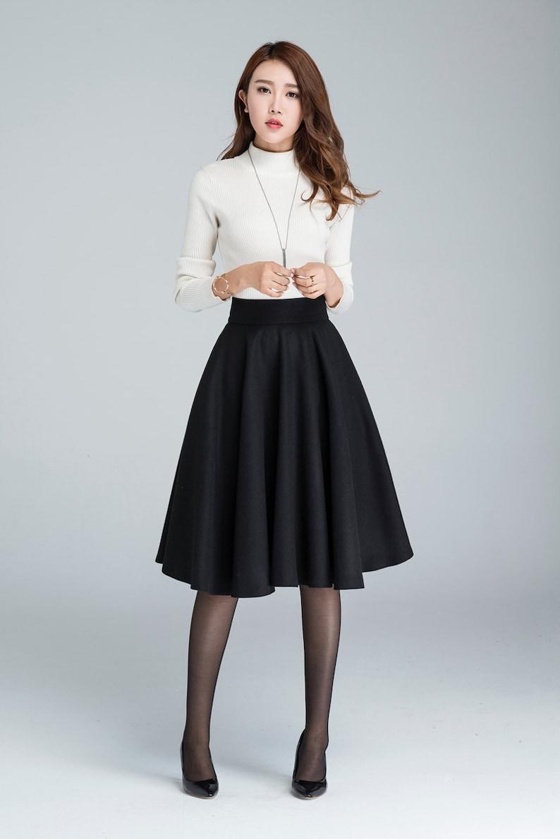 cbd288311 Wool circle skirt black skirt winter skirt skater skirt | Etsy