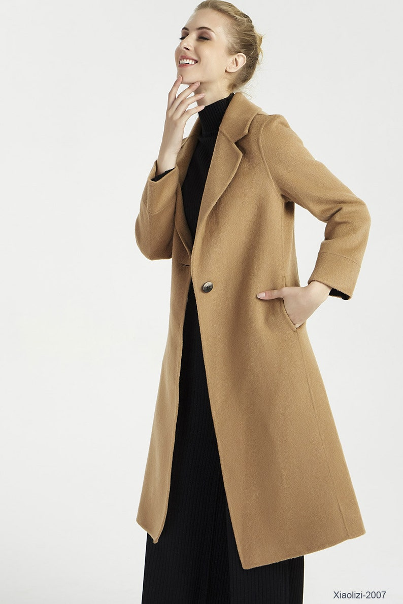 0683b1e70a30e Manteau Camel manteau long en laine manteau dhiver marron | Etsy