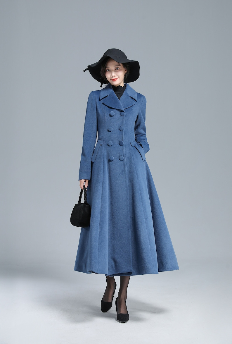 1950s Coats and Jackets History     Vintage Inspired Blue Long Wool Coat Women Winter Coat Fit and Flare Coat Double Breasted Coat Princess Coat Custom Coat Xiaolizi 3127  AT vintagedancer.com