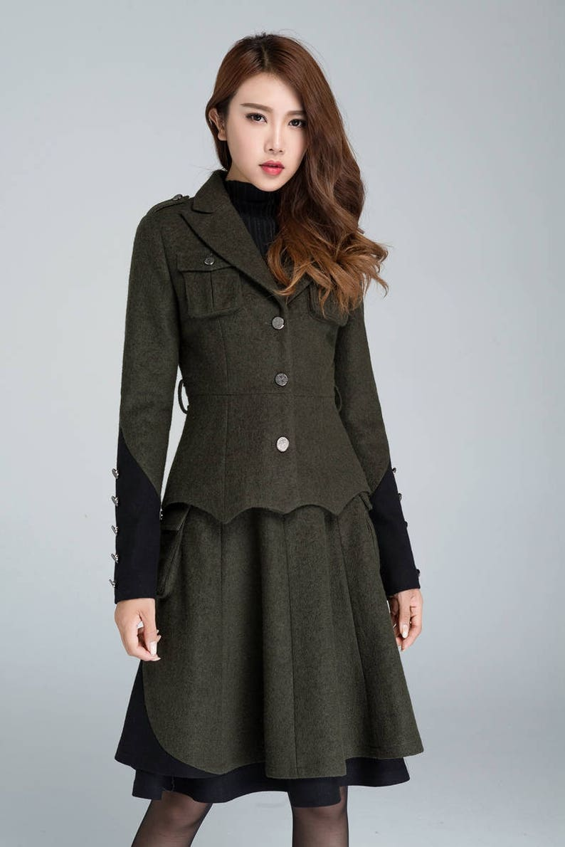 Steampunk Clothing, Fashion, Costumes     Military coat Womens blazer wool jacket army green jacket winter coat women  Wool clothes short wool peacoat womens outwear 1628#  AT vintagedancer.com