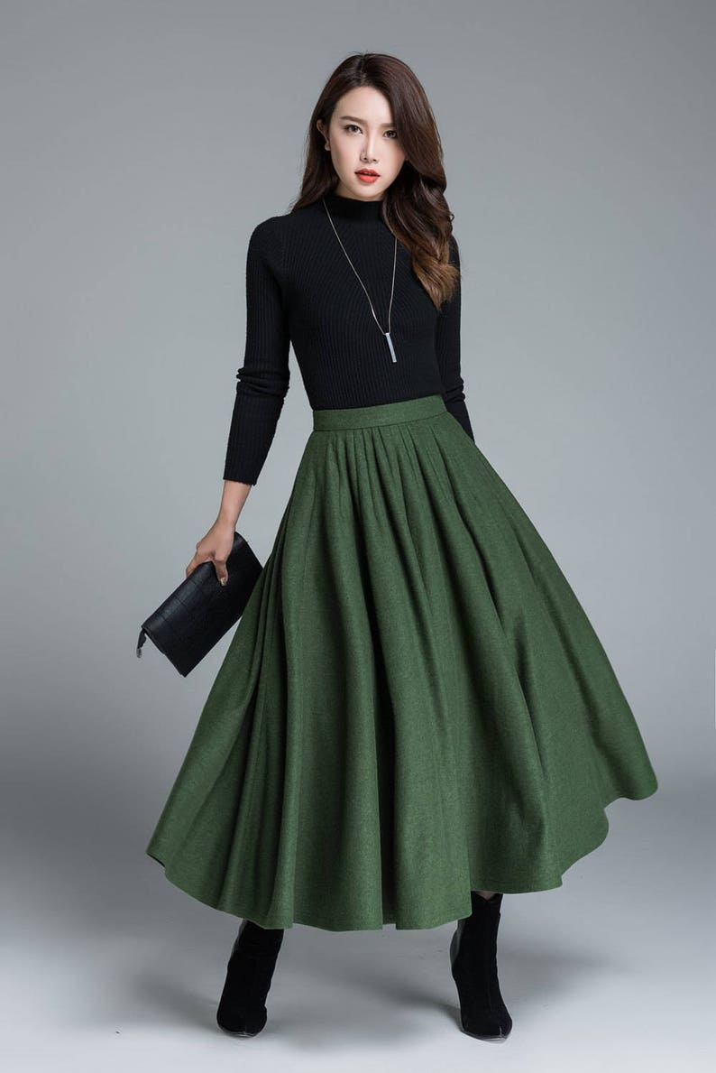 f4f8fc459 Green wool skirt winter skirt pleated skirt full skirt | Etsy