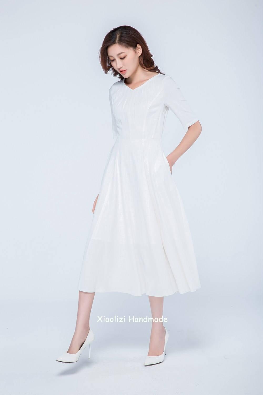 weißes Leinen Kleid Brautkleid Midi Kleid Frauen