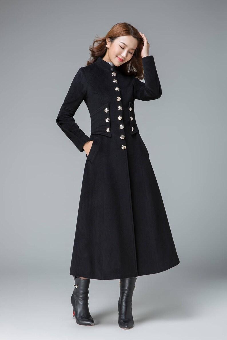 Lange Zwarte Winterjas.Zwarte Winterjas Lang Wol Jas Wol Jas Ingerichte Vacht Etsy
