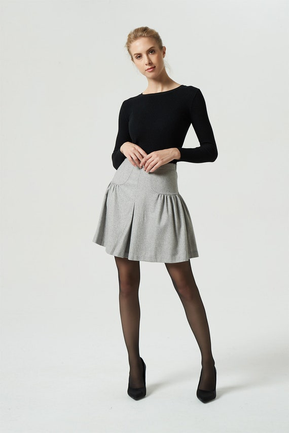 Wool Skater Skirt Gray Skirt Wool Skirt Mini Skirt Short Skirt Pleated Skirt High Waist Skirt Gray Wool Skirt Winter Skirt 1985