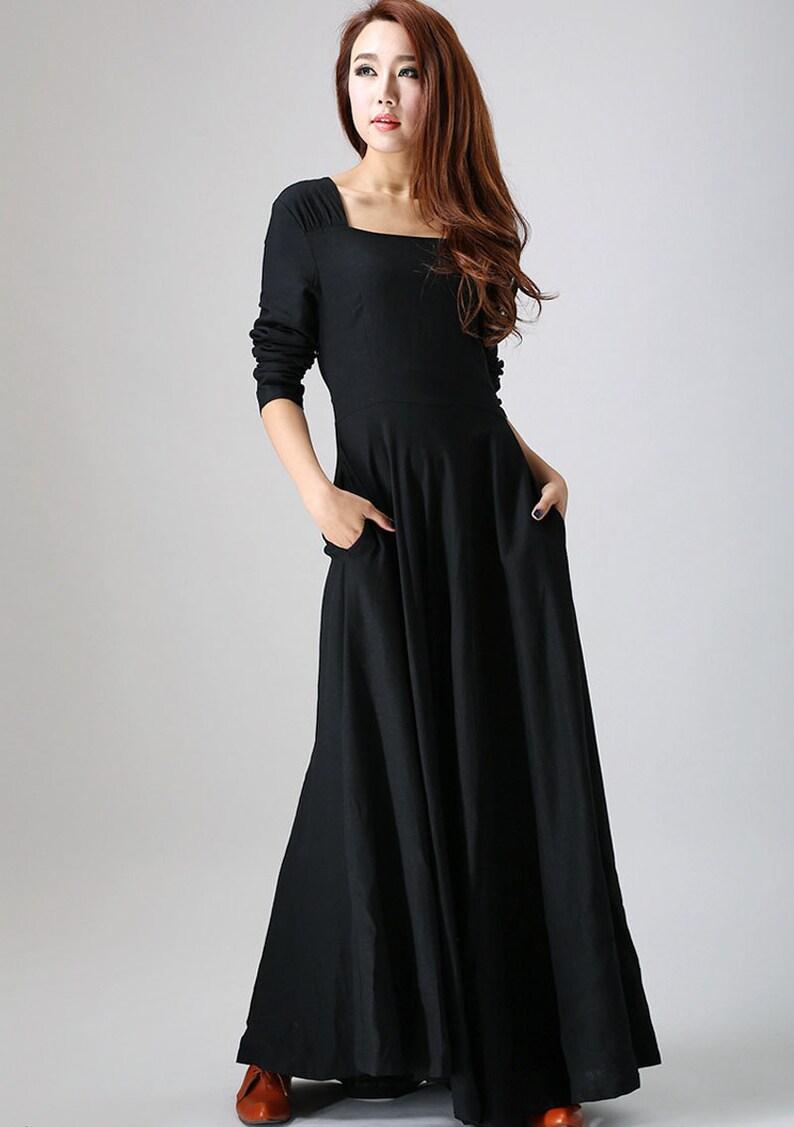 1776ed9710d152 Schwarzes Kleid Leinen Maxi-Kleid lange Ärmel Kleid | Etsy