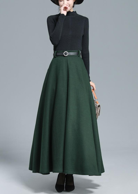 1950s Swing Skirt, Poodle Skirt, Pencil Skirts     Green Maxi Wool Skirt Women Long Swing Skirt High Waist Full Skirt Flared Solid Skirt Minimalist Skirt Winter Fall Plus Size Skirt 3139  AT vintagedancer.com