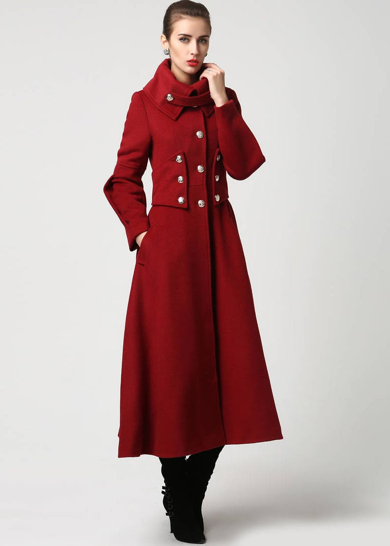 d25b54ed7e597 Red wool coat Long coat military Coat maxi coat Women
