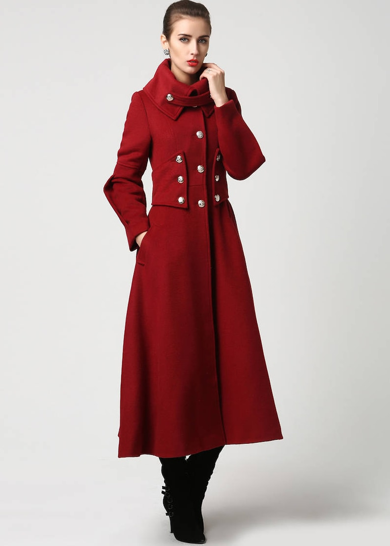 c39910a8557 Red wool coat Long coat military Coat maxi coat Women