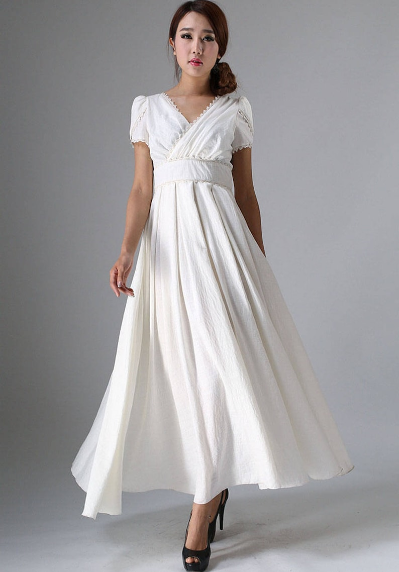 White dress women Simple wedding dress Boho wedding dress image 0