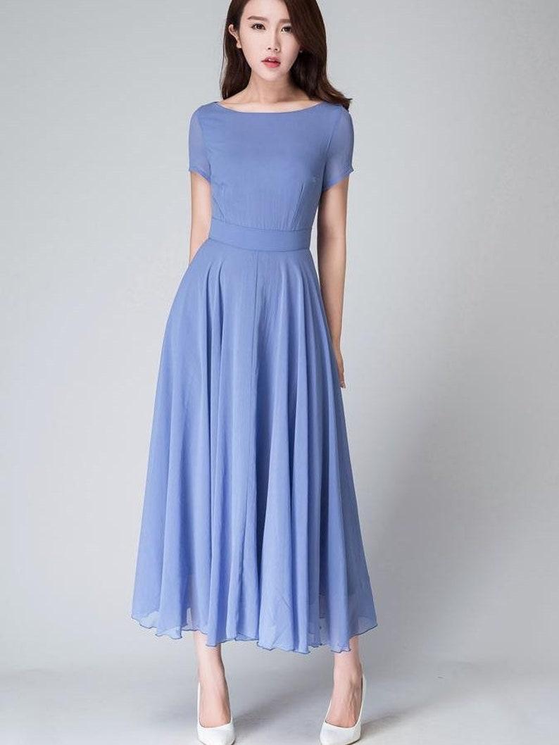 c55fdbf0ba58 Bridesmaid dress chiffon dress Blue dress women long dress