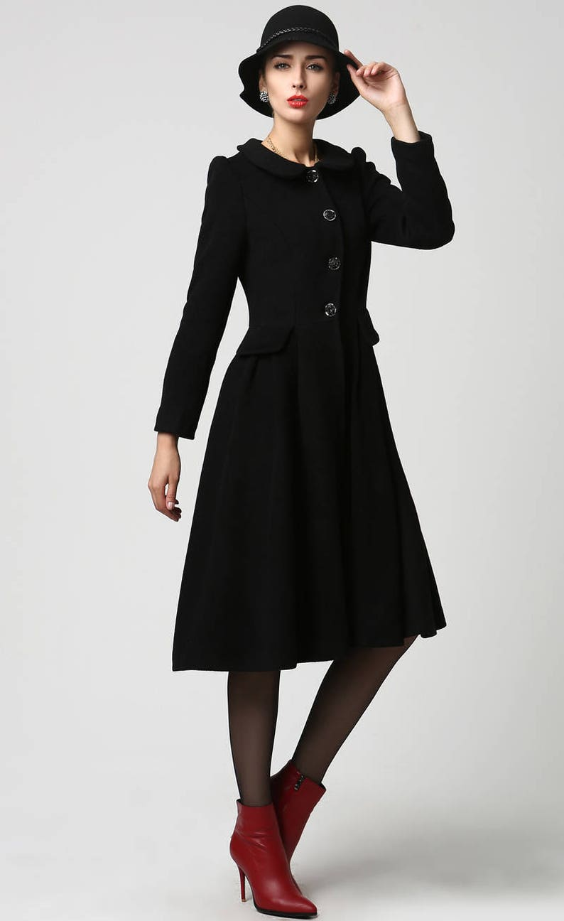 brand new 8fed3 fad13 langer schwarzer Mantel, Wolljacke, Mantel, Damen Jacken, schwarze Jacke,  Damen Mantel, mod Kleidung, Knie Länge Mantel, Custom made 1125 #