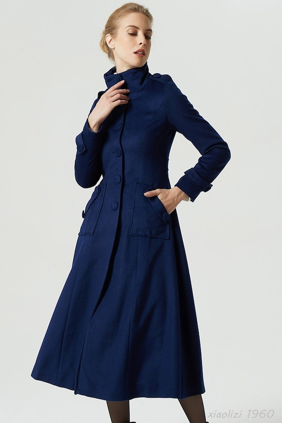 1960 coatwinter coatwarm coatlong coat coatmaxi coathandmade coatnavy coatwomen coatmilitary coatwool blue eorxdCB