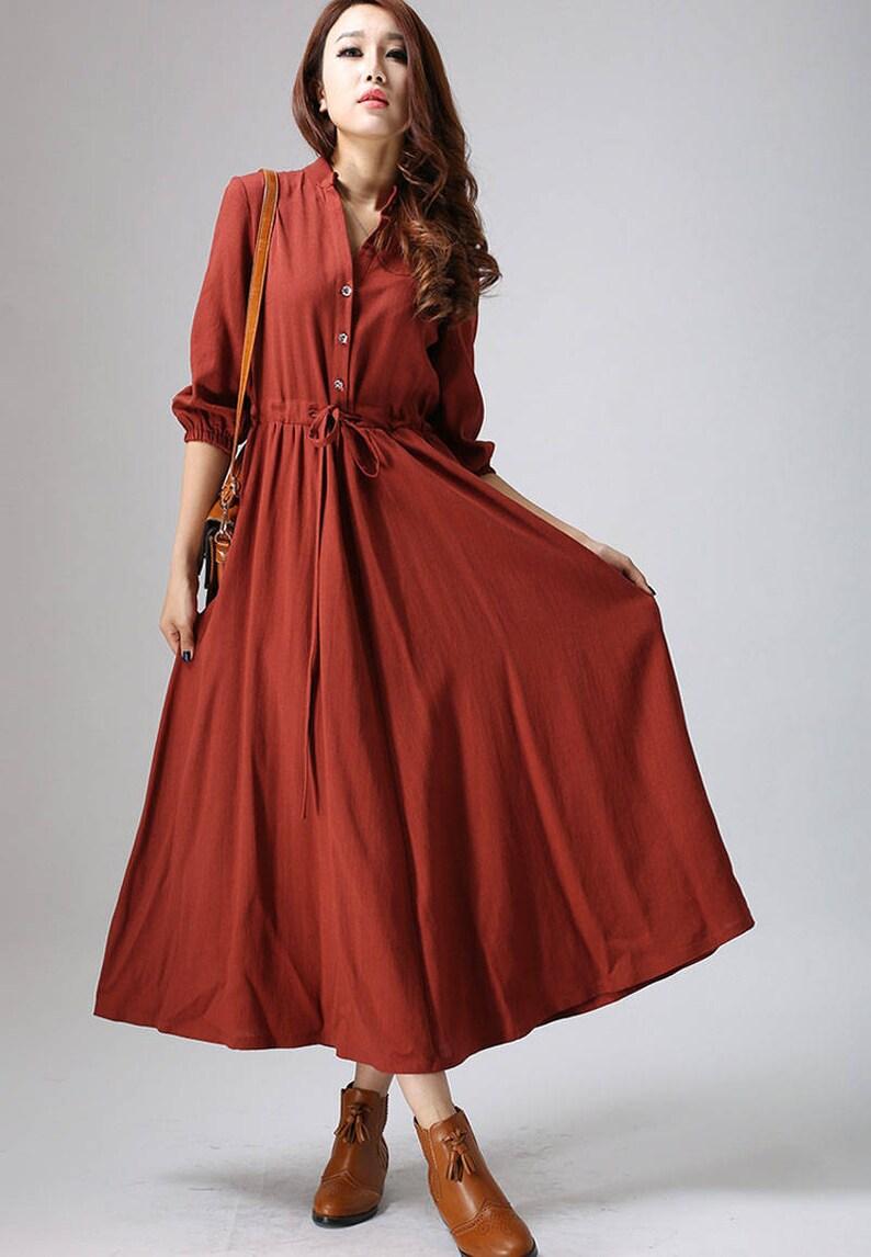 84c482ca06 Shirt dress vintage 1950s Dress rust red dress linen dress