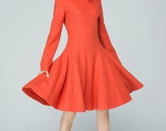 orange dress, wool dress women, winter dress, a line dress, knee length dress, elegant dress, made to order, pleated dress 1594