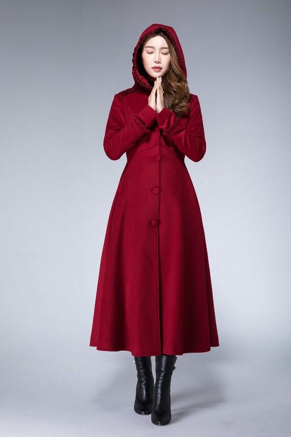 cheaper huge inventory discount Red winter coat, wool coat, long wool coat, hooded coat, warm winter coat,  wine red coat, ladies coat, fitted coat, handmade coat 1861#