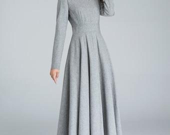 grey wool dress, winter dress, wool dress, long sleeves dress, woman dress, fit and flare dress, dresses with pocket, handmade dress  1616