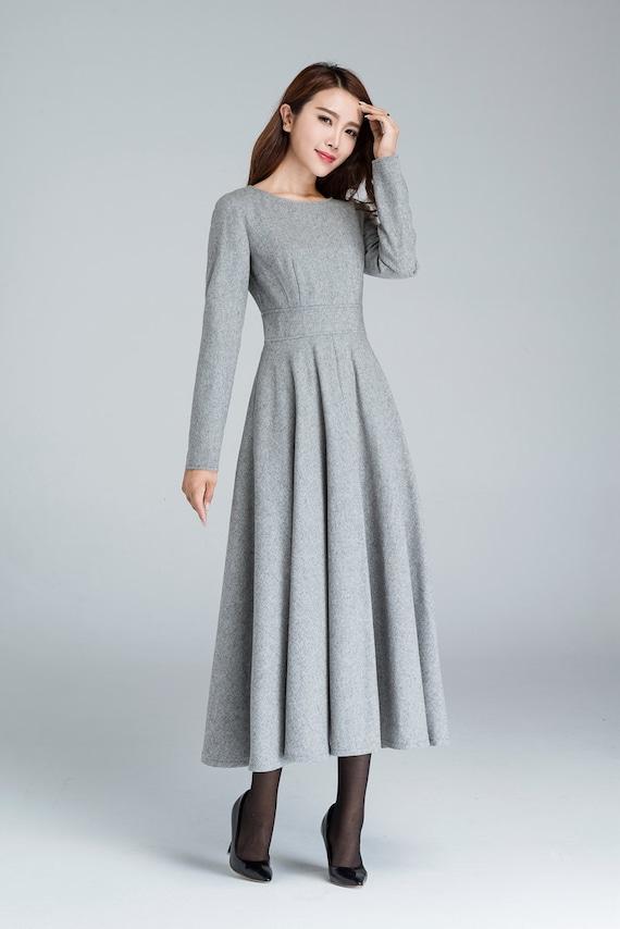 Grey wool dress winter dress wool dress long sleeves dress  21e31e000