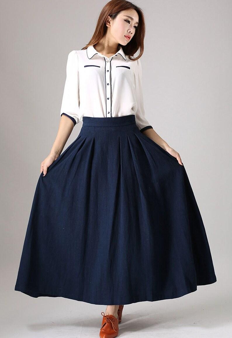 Pleated maxi skirt Long linen skirt Blue skirt linen skirt Blue-0855