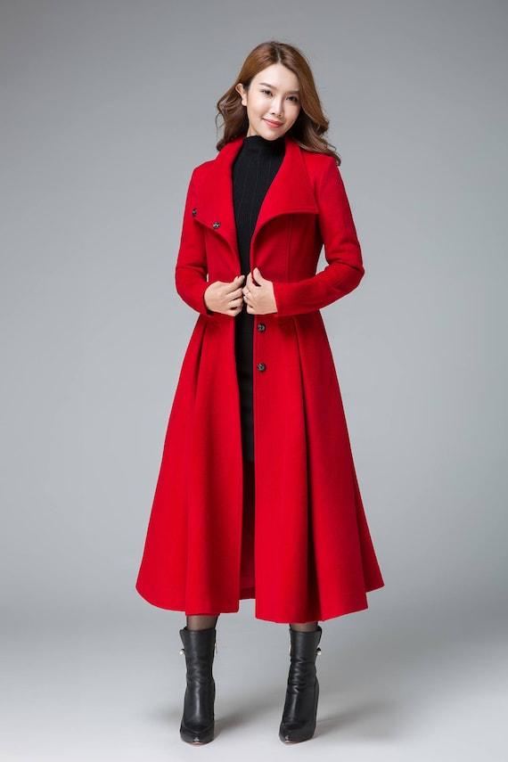 cheap look good shoes sale a few days away coats for women, red winter coat, asymmetrical coat, pleated coat , swing  coat, boho coat, stylish coat, stand collar, womens overcoat 1845#
