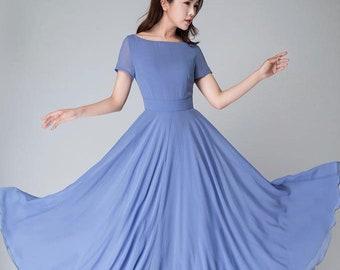 Blue Bridesmaid Dress with sleeves, Simple Beach wedding dress, Summer Long Women Chiffon dress, Bohemian Swing Chiffon maxi dress 1523#