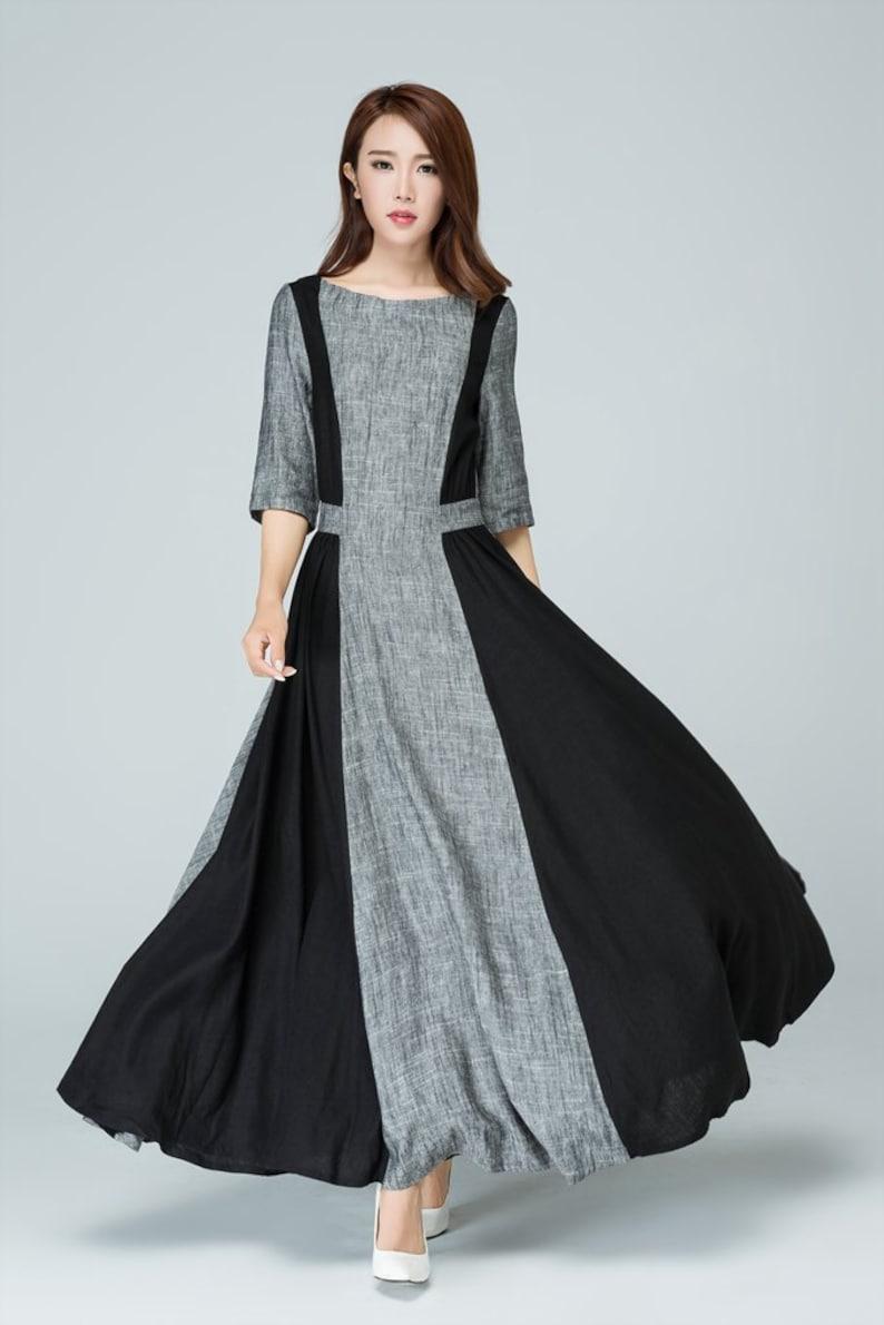 9ff33c5a1af2 Abito lungo lino abito in lino vestito Promenade Abito lino